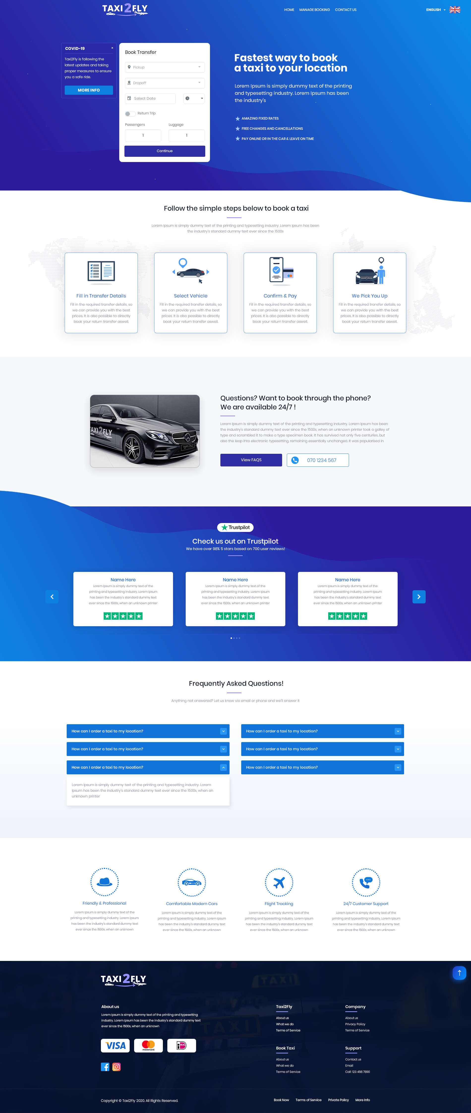 Taxi2Fly Web Design